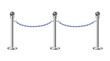 Stand chain barriers with blue chain