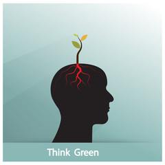 Think green concept. Tree of green idea shoot grow on human symb