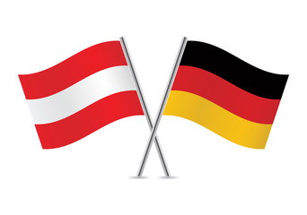 Austrian and German flags. Vector illustration.