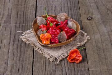 Peri peri capsicum on a burlap cloth