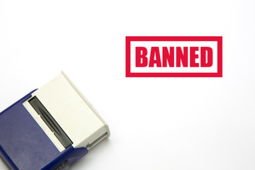 Rubber stamp with word Banned on white background