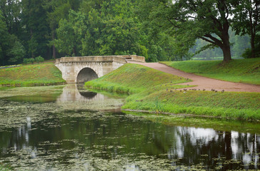 Landscape with old bridge in Gatchina