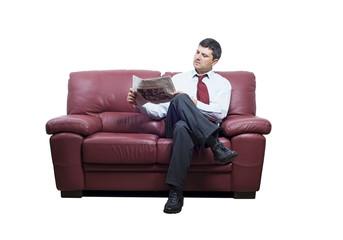 Isolated man on a sofa