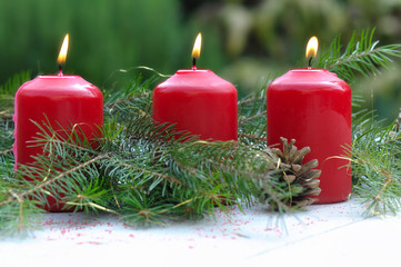 bougies parmi branche de sapin
