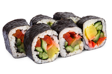 Portion of rolls with vegetables