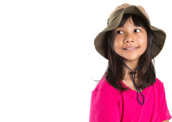 Young Asian preteen girl wearing angler hat and pink tshirt