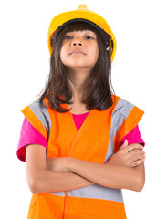 Young preteen Asian girl with hard hat and reflective vest