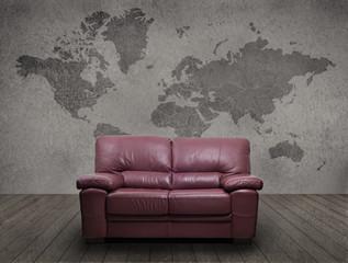 A sofa on a gray room