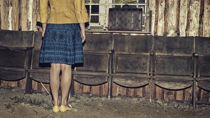 girl and retro vintage suitcase, dark mood unusual image