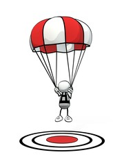 little sketchy man with parachute landing on red aim point