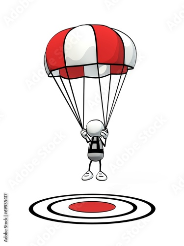 Leinwandbild Motiv little sketchy man with parachute landing on red aim point
