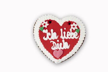 """Lebkuchenherz mit Schrift """"Ich liebe Dich"""""""
