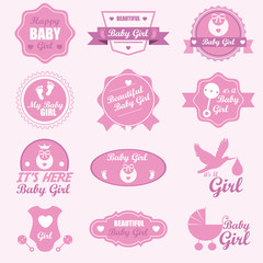 A Baby Girl Badge Labels and Icons set. Vector Illustration eps1