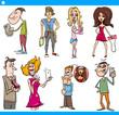 people characters set cartoon illustration