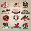 Vintage retro grunge coffee and restaurant seafood labels, badge