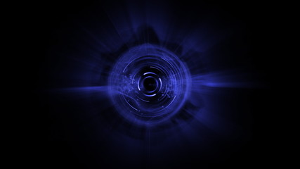 Blue circle spinning against black background