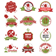 Vintage gardening badge labels with icons. Vector Illustration e