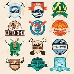 Set of outdoor adventure badges and hunting logo labels emblems.