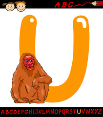 letter u for uakari cartoon illustration