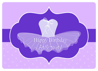 birthday wishes for ballerina with purple leotard and tulle tutu