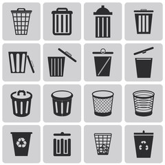 Vector black garbage icons set1. Vector Illustration eps10