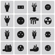 Energy and resource electronic plug black icon set1. Vector Illu