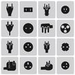 Energy and resource electronic plug black icon set1. Vector Illu