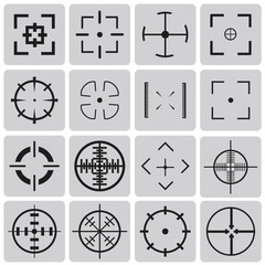 Set of vector highly detailed crosshairs black icons set3. Vecto