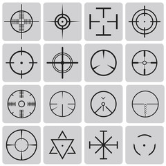 Set of vector highly detailed crosshairs black icons set2. Vecto