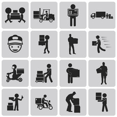 Logistic and Shipping and delivery man black icons set3. Vector