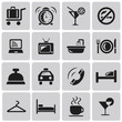 Hotel and Hotel Services Black Icons set1. Vector Illustration e