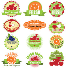 Collection of vintage retro grunge fresh fruit labels badges and