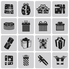 vector black christmas gift icon set3. Vector Illustration eps10