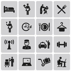 Hotel and Hotel Services Black Icons set2. Vector Illustration e