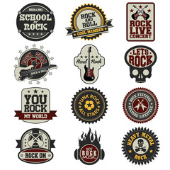 Set of music and sound rock star badge label related elements in