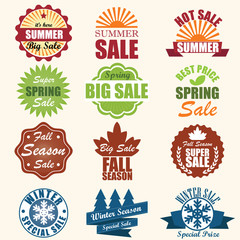 Vector Set: Mixed Seasonal Sale Badge Labels. Vector Illustratio