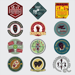 Set of zombie signs,badge label, graphics, and related logo symb