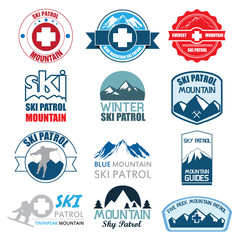 Set of ski patrol mountain badges and logo patches. Vector Illus