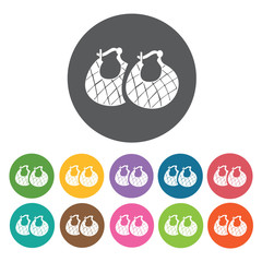 Pair of earrings icons set. Round colourful 12 buttons. Vector i