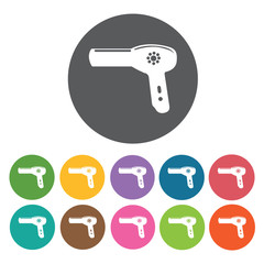 Hair blower icons set. Round colourful 12 buttons. Vector illust