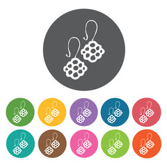 Earrings icons set. Round colourful 12 buttons. Vector illustrat