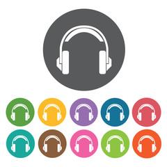 Headset icons set. Round colourful 12 buttons. Vector illustrati