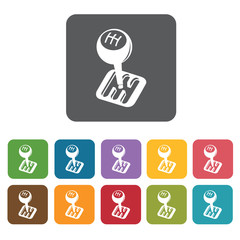 Gear handle icons set. Rectangle colourful 12 buttons. Vector il