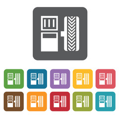Car pedals icons set. Rectangle colourful 12 buttons. Vector ill