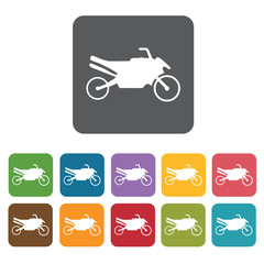 Motorbike icons set. Rectangle colourful 12 buttons. Vector illu