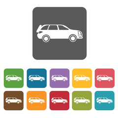 Car icons set. Rectangle colourful 12 buttons. Vector illustrati