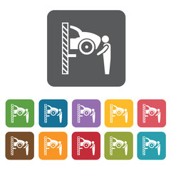 Car overhaul icons set. Rectangle colourful 12 buttons. Vector i
