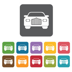 Front car icons set. Rectangle colourful 12 buttons. Vector illu