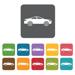Car side view icons set. Rectangle colourful 12 buttons. Vector