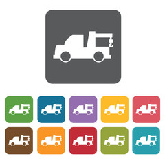 Tow car icons set. Rectangle colourful 12 buttons. Vector illust